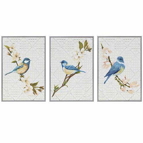 Madison Park Trellis Song Birds Blue Deco Box