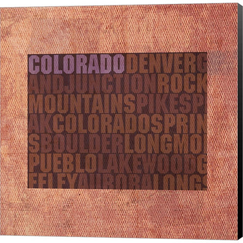 Colorado State Words Gallery Wrapped Canvas Wall Art On Deep Stretch Bars