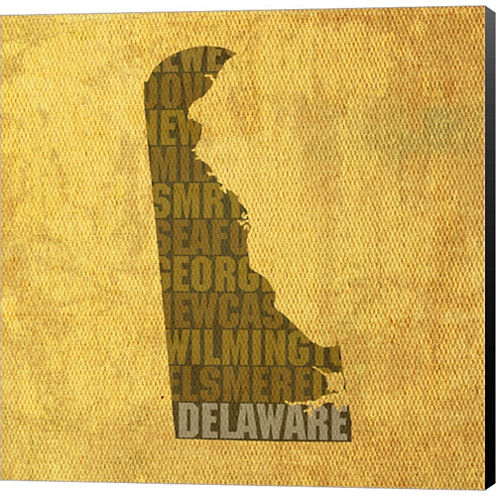 Delaware State Words Gallery Wrapped Canvas Wall Art On Deep Stretch Bars