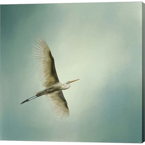 Egret Overhead Gallery Wrapped Canvas Wall Art OnDeep Stretch Bars