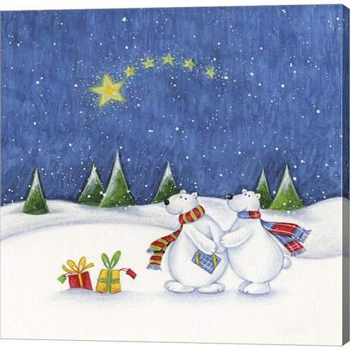 Bear Couple Holiday Snow Date Gallery Wrapped Canvas Wall Art On Deep Stretch Bars