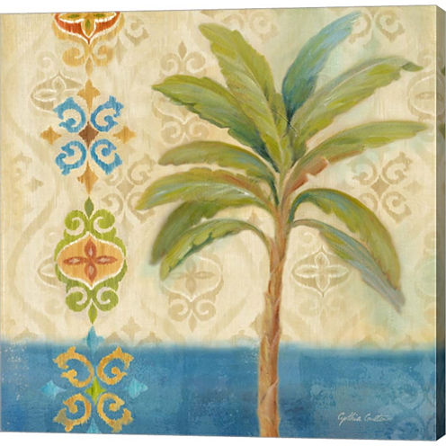 Ikat Palm I Gallery Wrapped Canvas Wall Art On Deep Stretch Bars