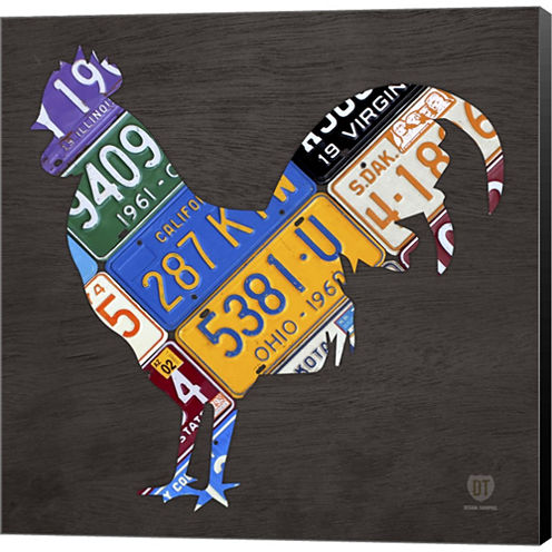 License Plate Art Rooster Gallery Wrapped Canvas Wall Art On Deep Stretch Bars