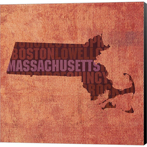 Massachusetts State Words Gallery Wrapped Canvas Wall Art On Deep Stretch Bars