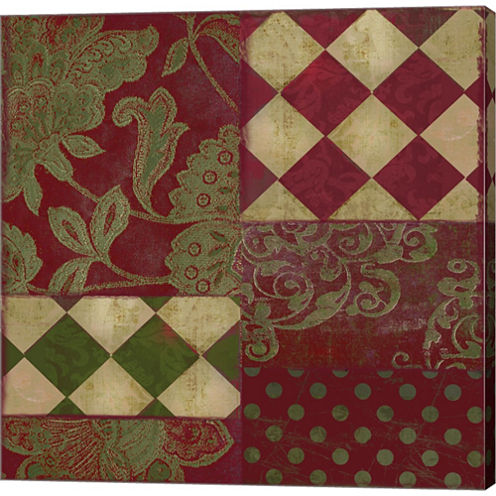 Merry Christmas Patchwork II Gallery Wrapped Canvas Wall Art On Deep Stretch Bars