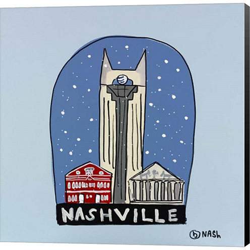 Nashville Snow Globe Gallery Wrapped Canvas Wall Art On Deep Stretch Bars