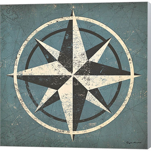 Nautical Compass Gallery Wrapped Canvas Wall Art On Deep Stretch Bars