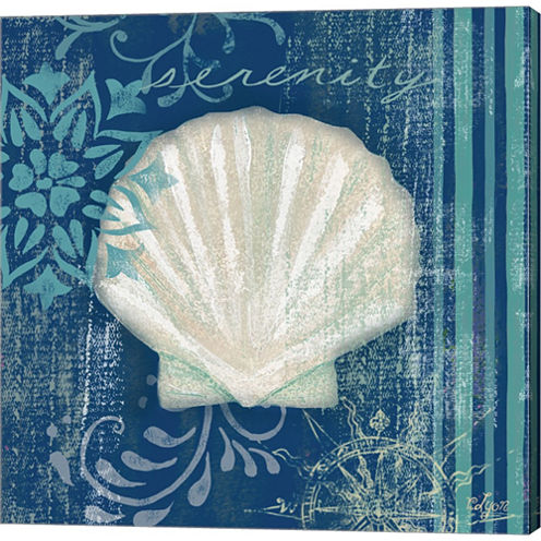 Navy Blue Spa Shells III Gallery Wrapped Canvas Wall Art On Deep Stretch Bars