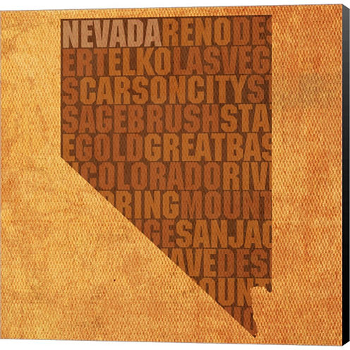 Nevada State Words Gallery Wrapped Canvas Wall ArtOn Deep Stretch Bars