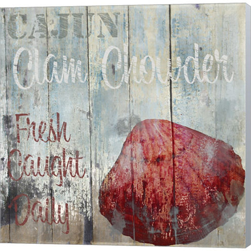 New Orleans Seafood IV Gallery Wrapped Canvas WallArt On Deep Stretch Bars
