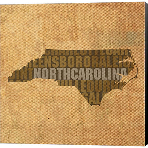 North Carolina State Words Gallery Wrapped CanvasWall Art On Deep Stretch Bars