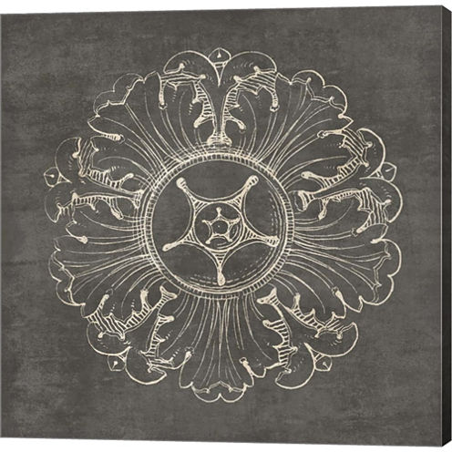 Rosette VI Gray Gallery Wrapped Canvas Wall Art OnDeep Stretch Bars