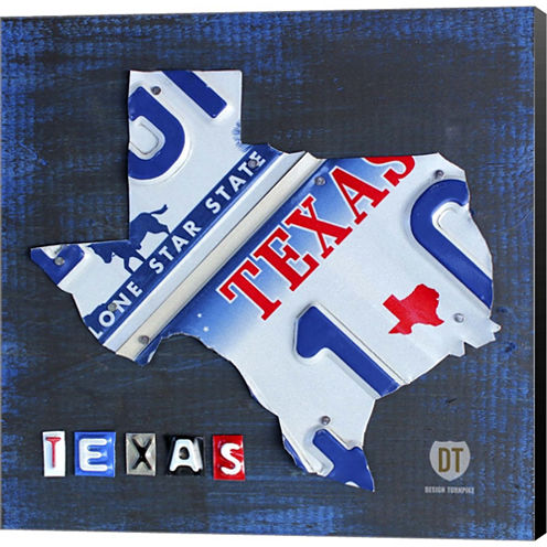 Texas License Plate Map Gallery Wrapped Canvas Wall Art On Deep Stretch Bars