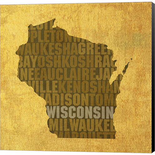 Wisconsin State Words Gallery Wrapped Canvas WallArt On Deep Stretch Bars