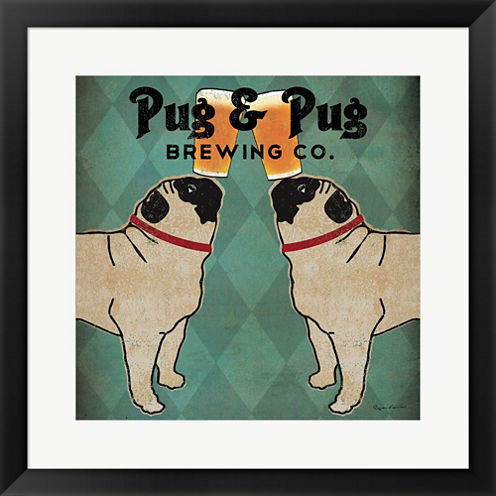 Pug And Pug Brewing Square Framed Print Wall Art