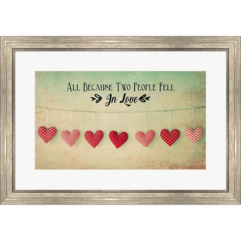 Two People Fell In Love Cotton Hearts Framed PrintWall Art