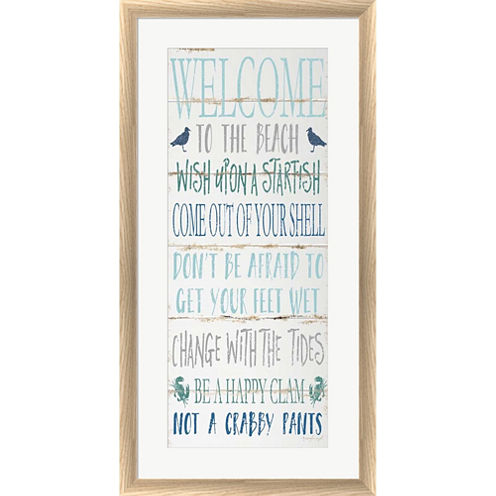 Welcome To The Beach Framed Print Wall Art