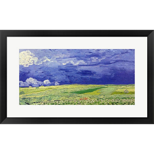 Wheatfields Under Thunderclouds  1890 Framed PrintWall Art