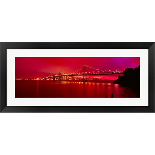 Suspension Bridge Lit Up At Night  Bay Bridge  SanFrancisco  California  USA Framed Print Wall Art