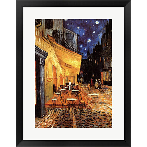 The Cafe Terrace On The Place Du Forum  Arles  AtNight  C 1888 Framed Print Wall Art