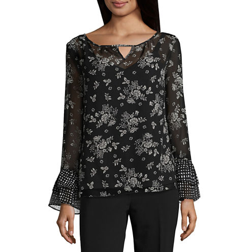 Alyx Long Sleeve Round Neck Woven Pattern Blouse
