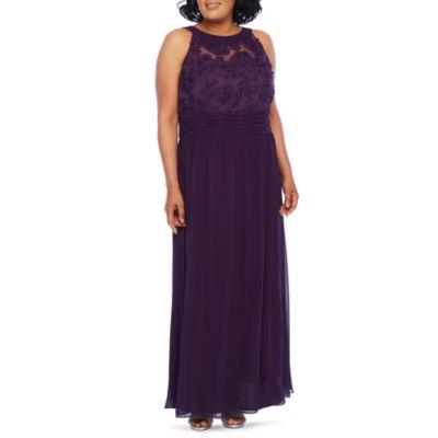 Scarlett Sleeveless Evening Gown Plus Color Eggplant