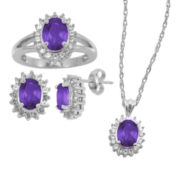 Genuine Amethyst & White Sapphire 3-pc. Jewelry Set