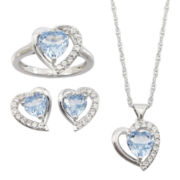 Lab-Created Aquamarine Spinel & White Sapphire 3-pc. Heart Jewelry Set