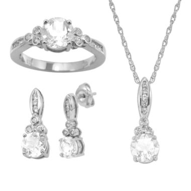 jcpenney.com | Lab-Created White Sapphire 3-pc. Round Jewelry Set