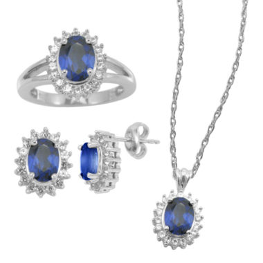 jcpenney.com | Lab-Created Blue & White Sapphire 3-pc. Oval Jewelry Set