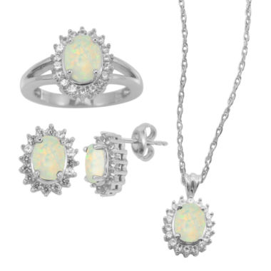 jcpenney.com | Lab-Created Opal & White Sapphire 3-pc. Oval Jewelry Set