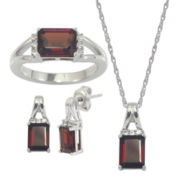 Genuine Garnet & White Sapphire 3-pc. Octagon Jewelry Set