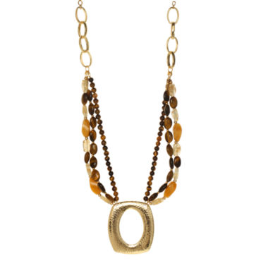 jcpenney.com | ROX by Alexa Tiger's Eye & Yellow Jade Medallion Pendant Necklace