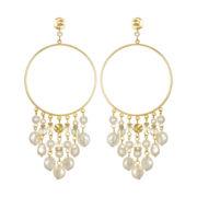 PALOMA & ELLIE Drop Hoop Earrings with Simulated Pearls