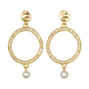 PALOMA & ELLIE Crystal & Simulated Pearl Open Disc Earrings