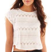 Olsenboye® Short-Sleeve Eyelet Crop Top