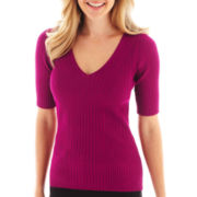 Worthington® Elbow-Sleeve Ribbed V-Neck Sweater