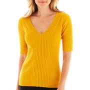 Worthington® Elbow-Sleeve Ribbed V-Neck Sweater