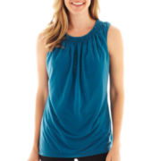Worthington® Sleeveless Smocked Mesh Top