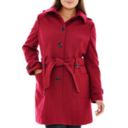 Liz Claiborne® Belted Wool-Blend Coat - Plus