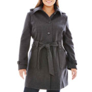 Liz Claiborne® Belted Wool-Blend Coat - Plus