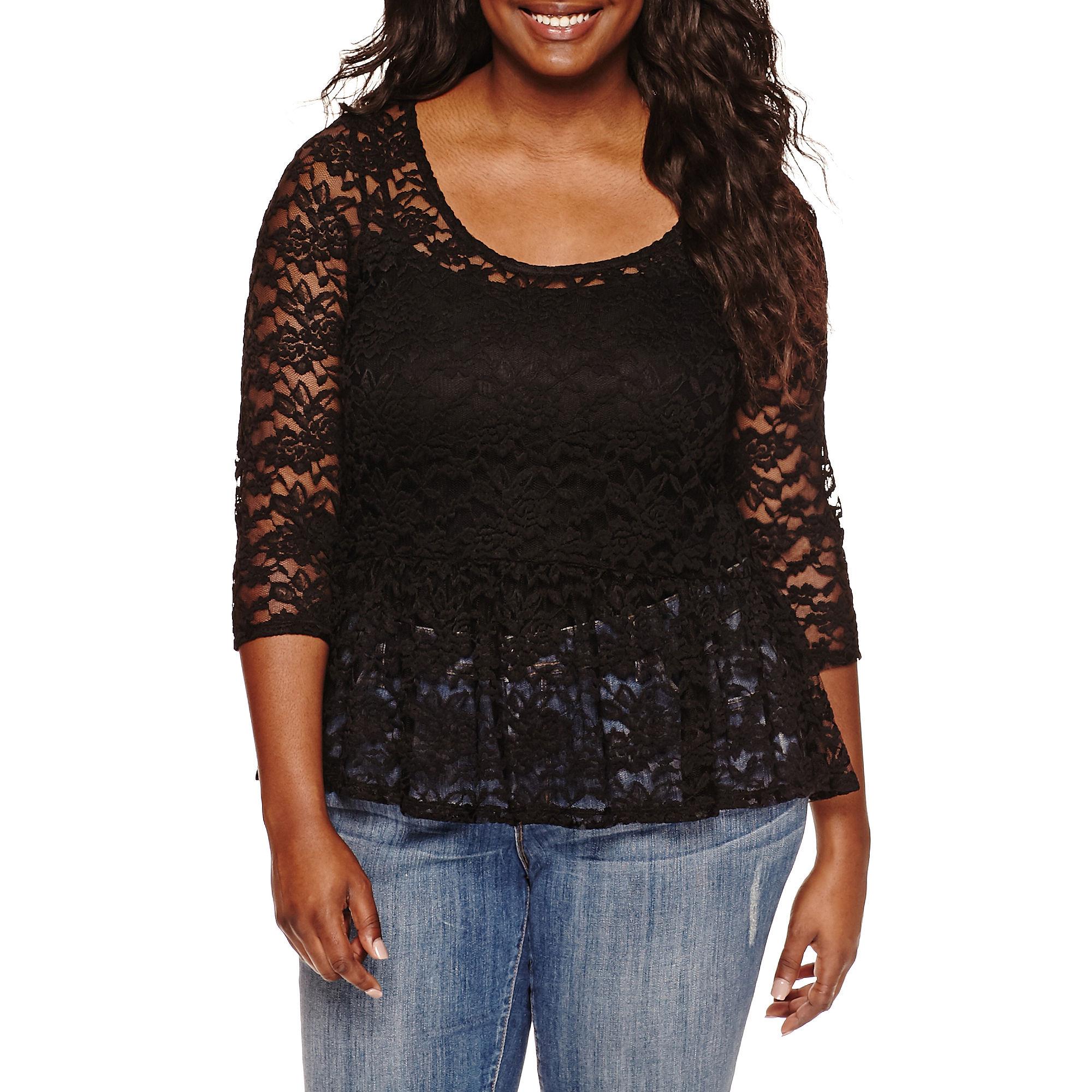 Decree 3/4-Sleeve Lace Peplum Top - Juniors Plus plus size,  plus size fashion plus size appare