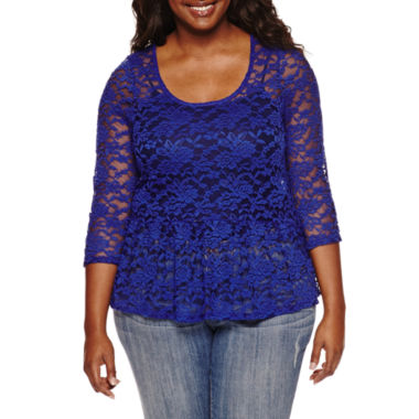 jcpenney.com | Decree® 3/4-Sleeve Lace Peplum Top - Juniors Plus