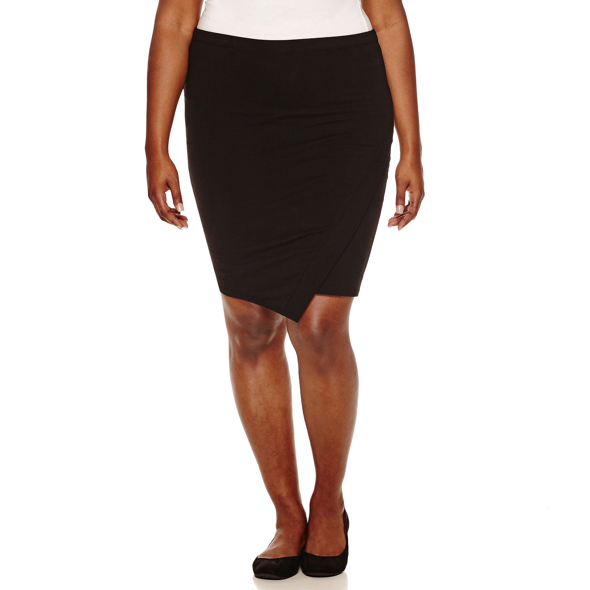 Decree Asymmetrical Wrap-Front Bodycon Skirt - Juniors Plus plus size,  plus size fashion plus size appare