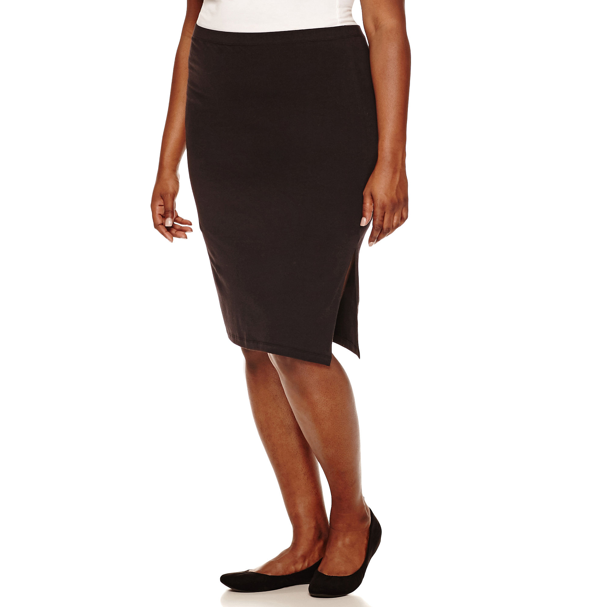 Decree Side-Slit Bodycon Skirt - Juniors Plus plus size,  plus size fashion plus size appare