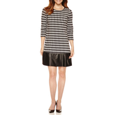 jcpenney.com | R&K Originals® 3/4-Sleeve Houndstooth Shift Dress