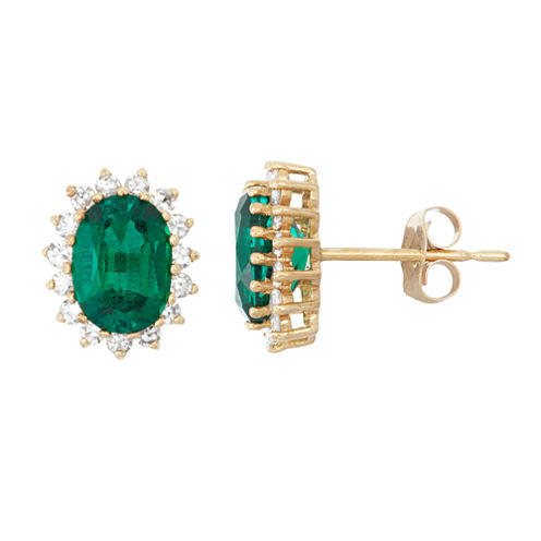 1/3 CT. T.W. Oval Lab Created Emerald 10K Gold Stud Earrings