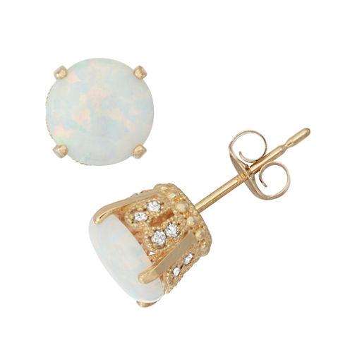 1/6 CT. T.W. Round White Opal 10K Gold Stud Earrings
