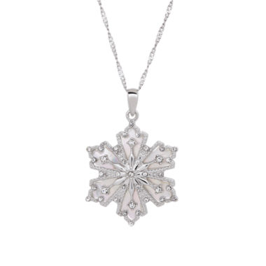 jcpenney.com | Sterling Silver Mother Of Pearl and Crystal Snowflake Pendant Necklace