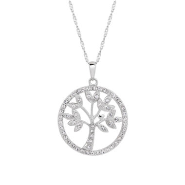 jcpenney.com | Sterling Silver Mother Of Pearl and Crystal Tree Pendant Necklace